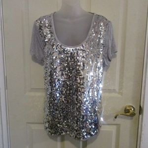 Jennifer Lopez bling silver sequined gray top 2X